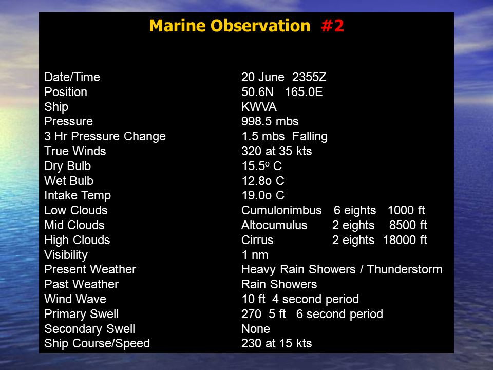 Marine Observation #2 Date/Time20 June 2355Z Position50.6N 165.0E ShipKWVA Pressure998.5 mbs 3 Hr Pressure Change1.5 mbs Falling True Winds320 at 35 kts Dry Bulb15.5 o C Wet Bulb12.8o C Intake Temp19.0o C Low CloudsCumulonimbus 6 eights 1000 ft Mid CloudsAltocumulus 2 eights 8500 ft High CloudsCirrus 2 eights 18000 ft Visibility1 nm Present WeatherHeavy Rain Showers / Thunderstorm Past WeatherRain Showers Wind Wave10 ft 4 second period Primary Swell270 5 ft 6 second period Secondary SwellNone Ship Course/Speed230 at 15 kts
