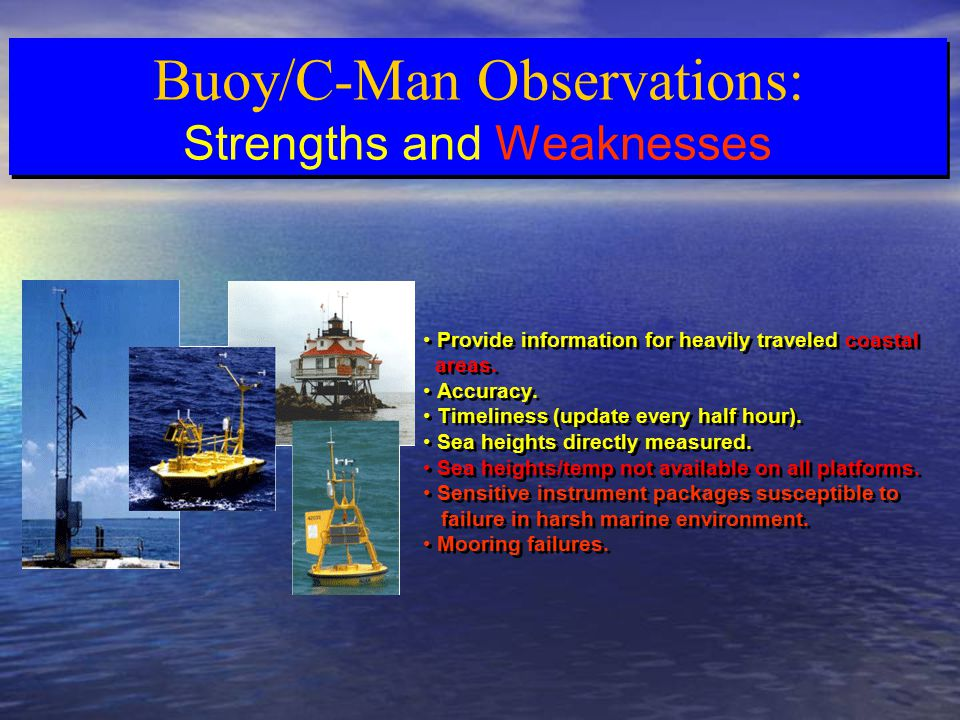 Buoy/C-Man Observations: Strengths and Weaknesses Buoy/C-Man Observations: Strengths and Weaknesses Provide information for heavily traveled coastal areas.
