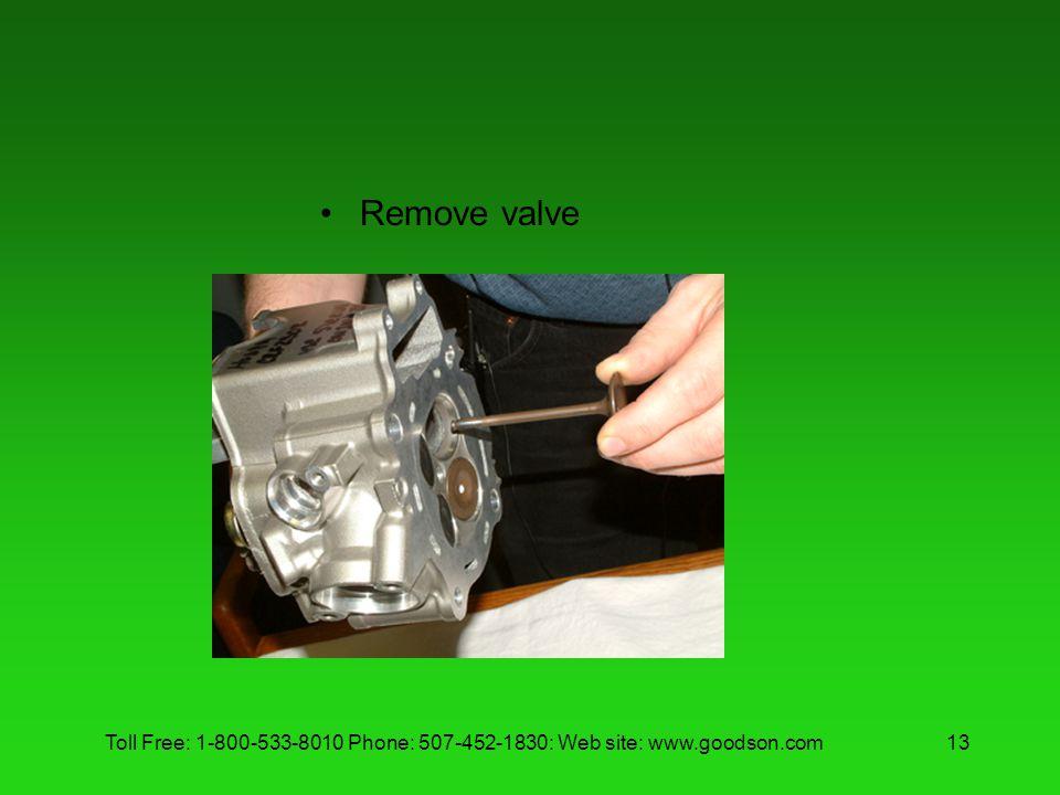 Toll Free: 1-800-533-8010 Phone: 507-452-1830: Web site: www.goodson.com13 Remove valve