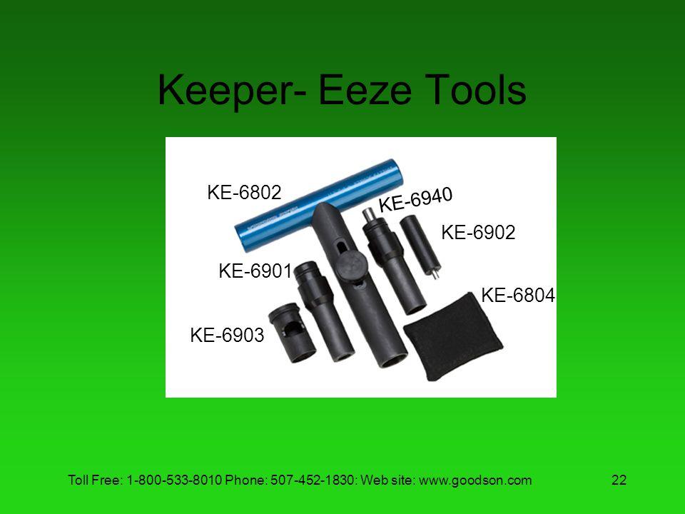 Toll Free: 1-800-533-8010 Phone: 507-452-1830: Web site: www.goodson.com22 Keeper- Eeze Tools KE-6802 KE-6901 KE-6903 KE-6940 KE-6902 KE-6804