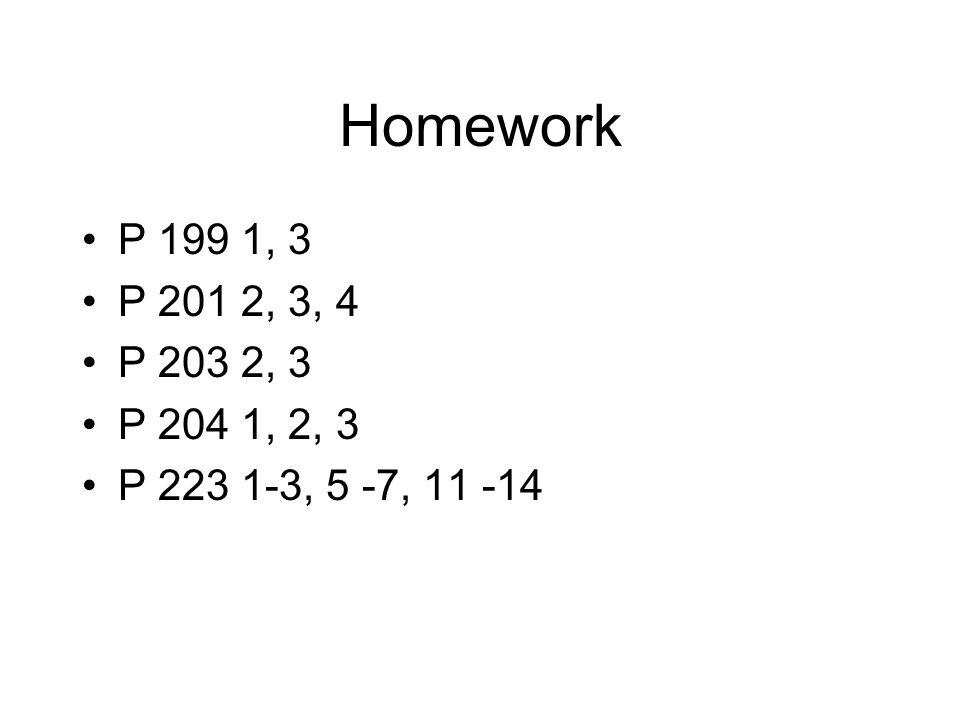Homework P 199 1, 3 P 201 2, 3, 4 P 203 2, 3 P 204 1, 2, 3 P 223 1-3, 5 -7, 11 -14
