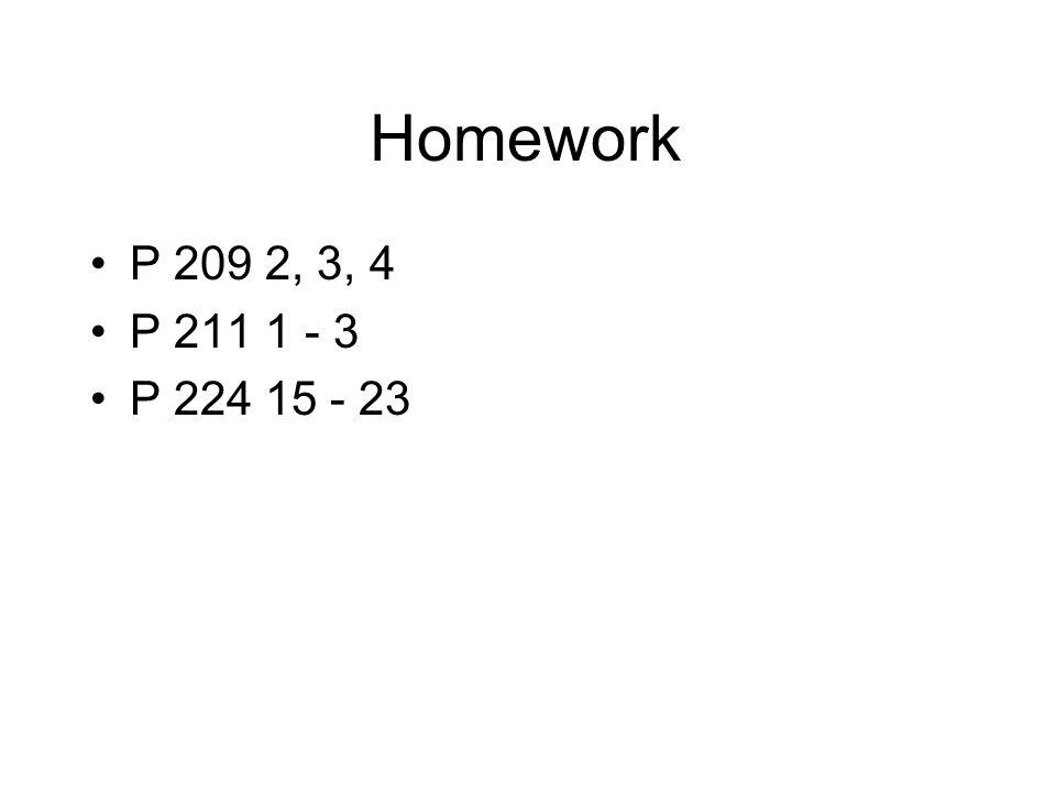 Homework P 209 2, 3, 4 P 211 1 - 3 P 224 15 - 23