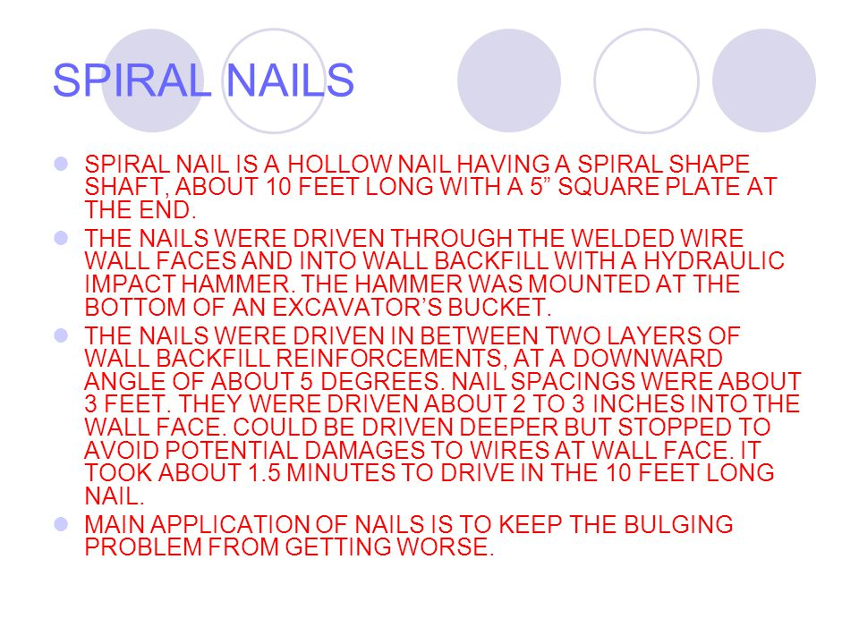 SPIRAL NAILS POSITION NAIL FOR DRIVING