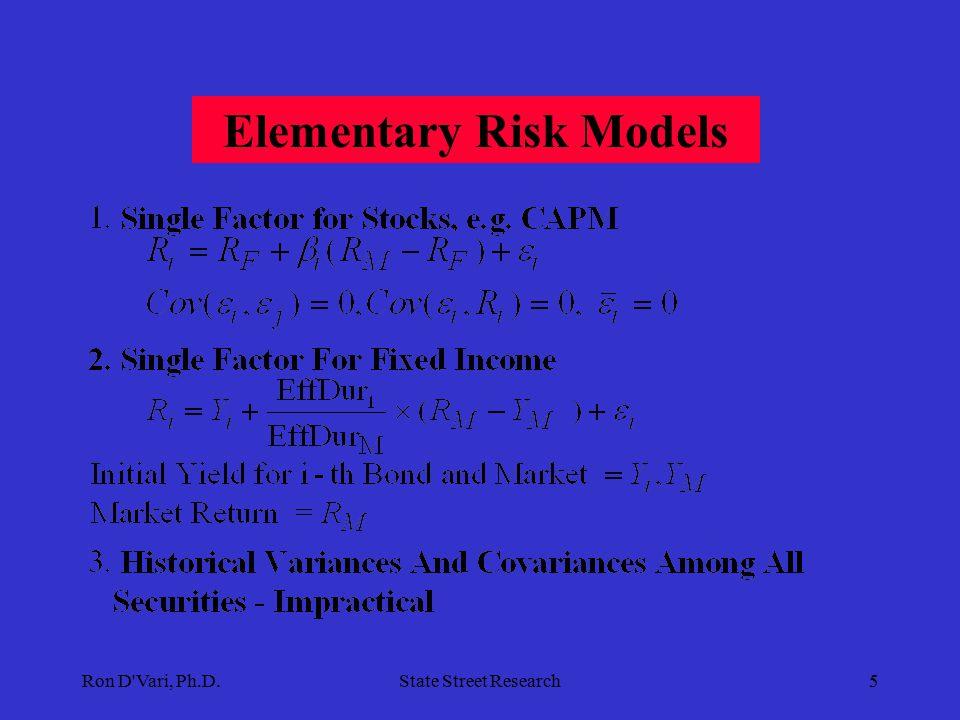 Ron D Vari, Ph.D.State Street Research5 Elementary Risk Models