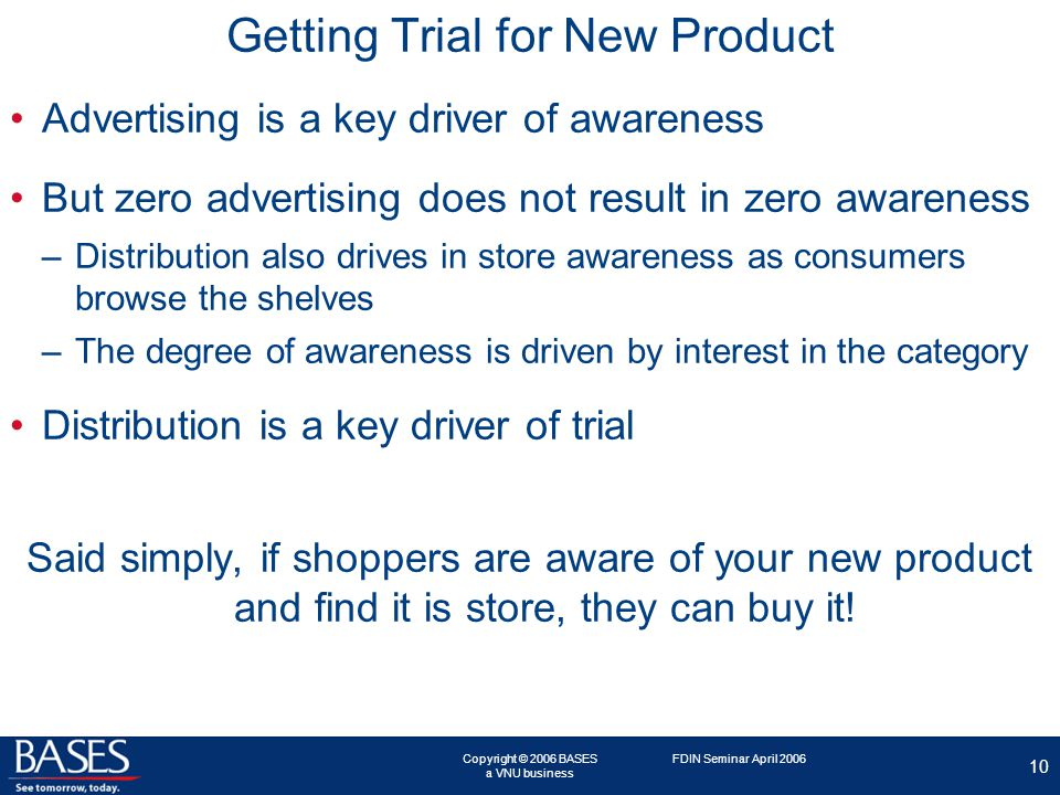 Copyright © 2006 BASES a VNU business 10 FDIN Seminar April 2006 Getting Trial for New Product Advertising is a key driver of awareness But zero advertising does not result in zero awareness –Distribution also drives in store awareness as consumers browse the shelves –The degree of awareness is driven by interest in the category Distribution is a key driver of trial Said simply, if shoppers are aware of your new product and find it is store, they can buy it!