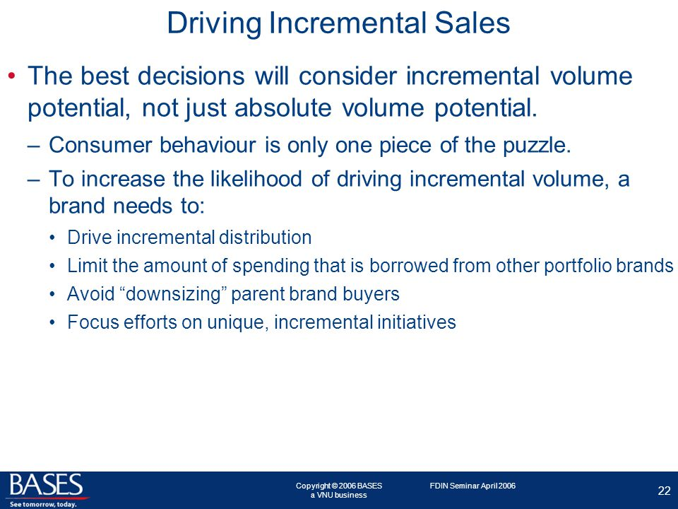 Copyright © 2006 BASES a VNU business 22 FDIN Seminar April 2006 Driving Incremental Sales The best decisions will consider incremental volume potential, not just absolute volume potential.