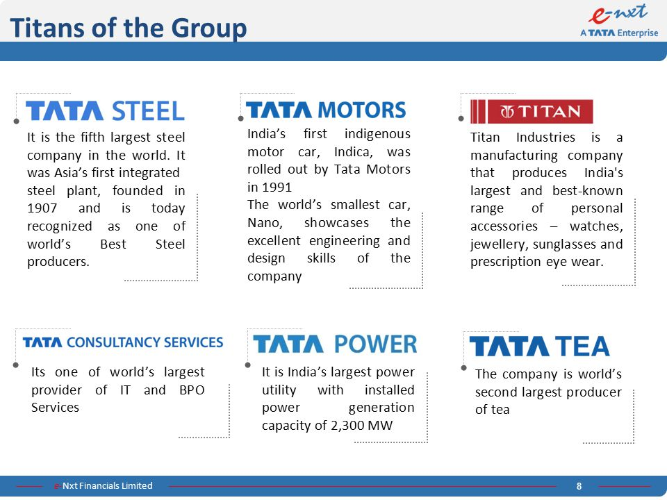 e-Nxt Financials Limited 8 Titans of the Group It is the fifth largest steel company in the world. It was Asia's first integrated steel plant, founded