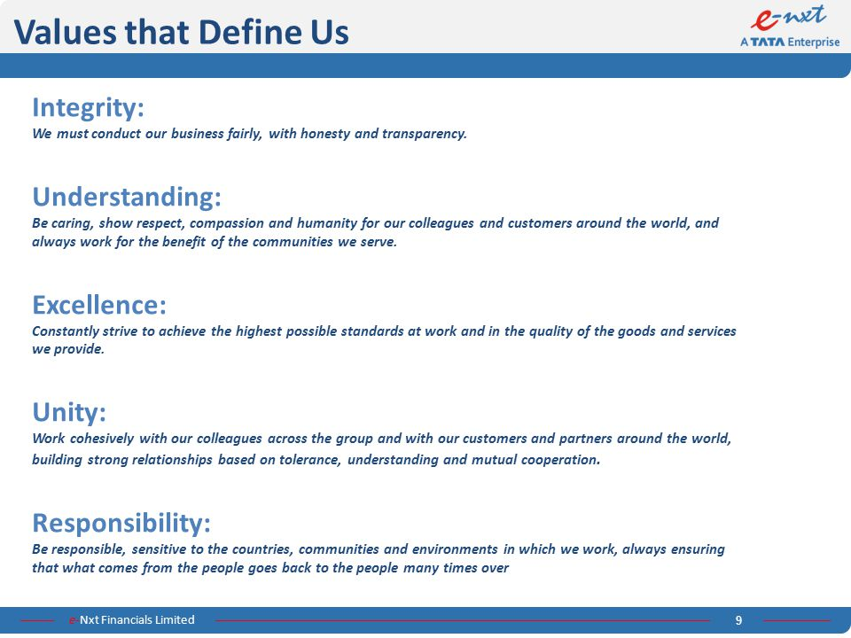 e-Nxt Financials Limited 9 Values that Define Us Integrity: We must conduct our business fairly, with honesty and transparency. Understanding: Be cari