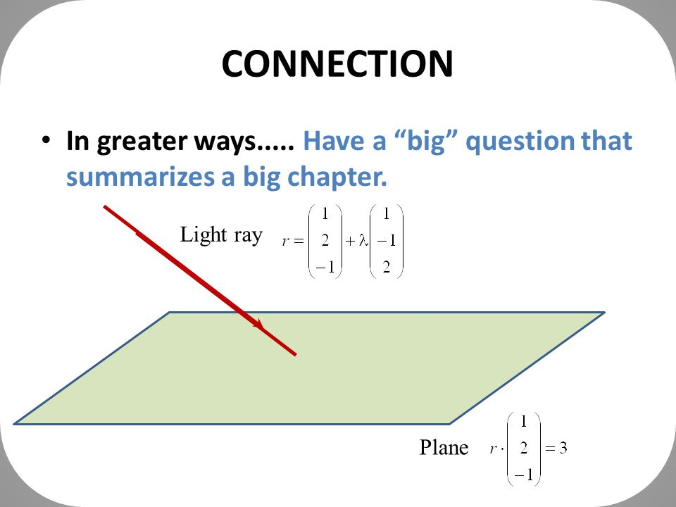 CONNECTION In greater ways..... Have a big question that summarizes a big chapter.