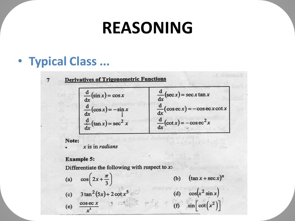 REASONING Typical Class...