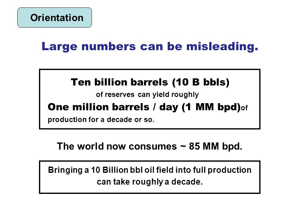 Ten billion barrels (10 B bbls) of reserves can yield roughly One million barrels / day (1 MM bpd) of production for a decade or so.