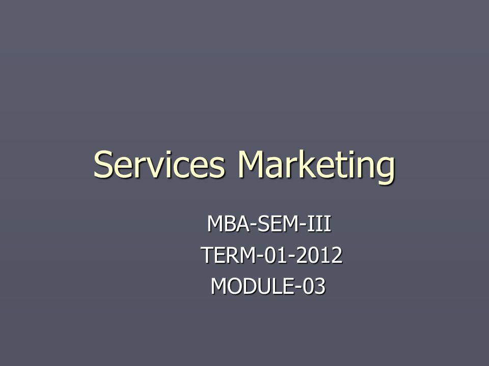 Services Marketing MBA-SEM-III TERM-01-2012 TERM-01-2012 MODULE-03 MODULE-03