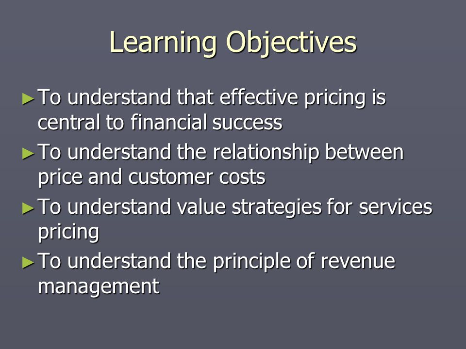 Service Characteristics Intangible Costs = + difficult than manufacturing Price = + difficult than manufacturing Can customers see what they are paying for.
