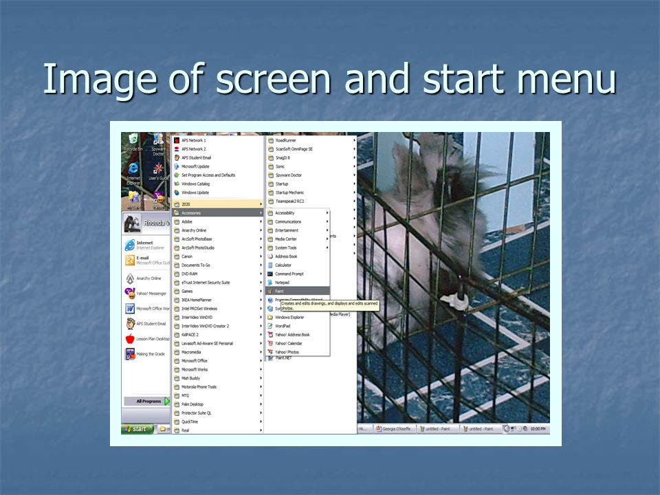 Image of screen and start menu