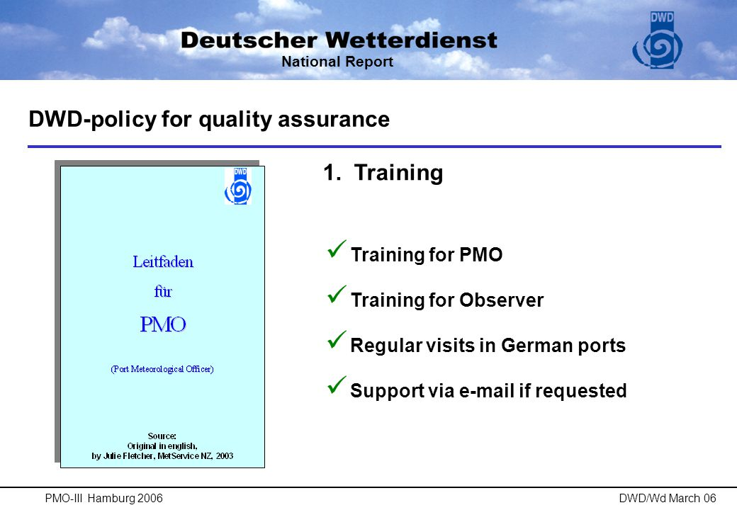 DWD-policy for quality assurance 2.