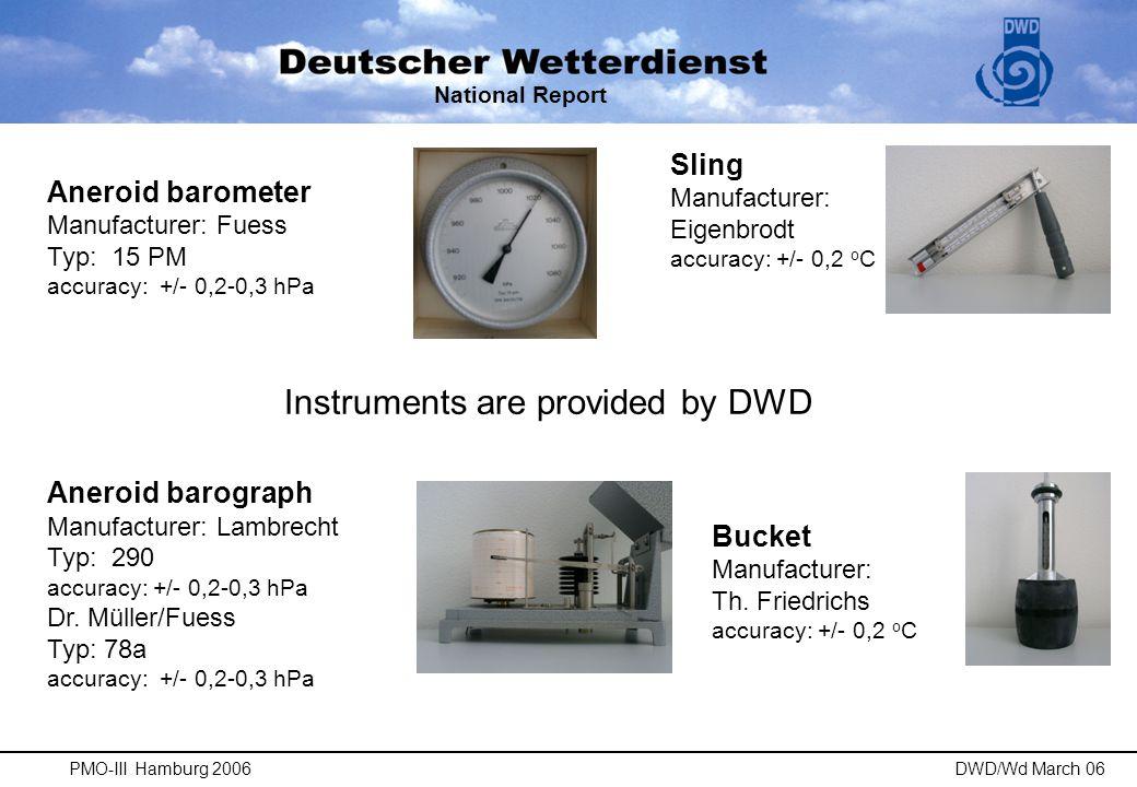 National Report PMO-III Hamburg 2006DWD/Wd March 06 AWS Automated Weather Station DWD -Typ