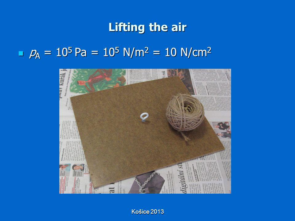 Košice 2013 Lifting the air p A = 10 5 Pa = 10 5 N/m 2 = 10 N/cm 2 p A = 10 5 Pa = 10 5 N/m 2 = 10 N/cm 2