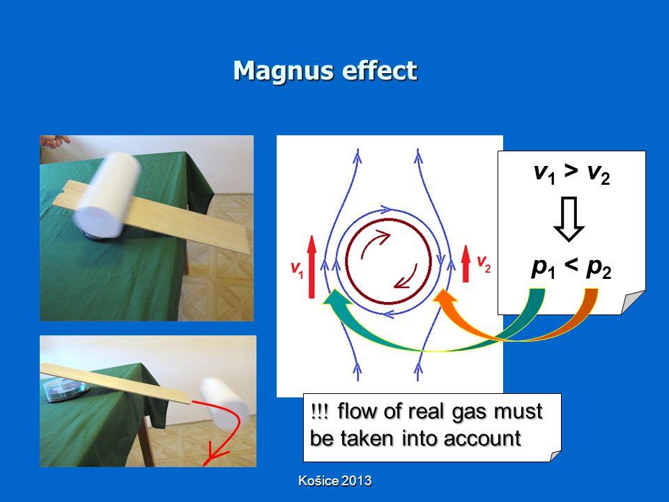 Magnus effect  flow of real gas must be taken into account v 1 > v 2 p 1 < p 2 Košice 2013