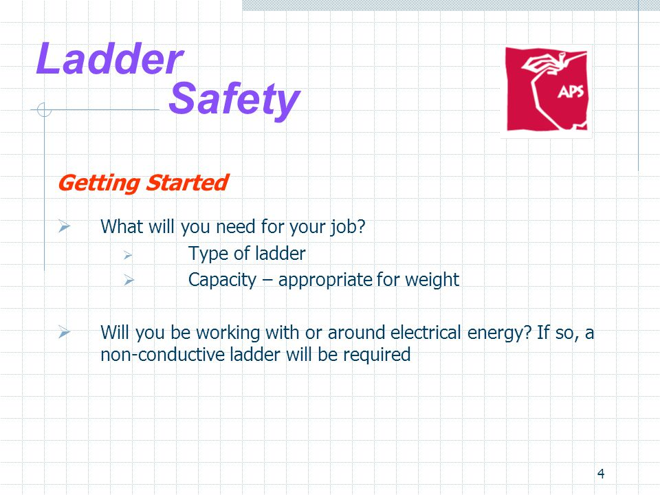 4 Ladder Safety Getting Started  What will you need for your job.