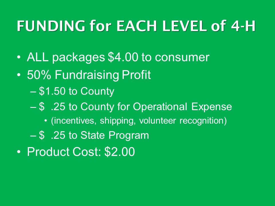 FUNDING for EACH LEVEL of 4-H ALL packages $4.00 to consumer 50% Fundraising Profit –$1.50 to County –$.25 to County for Operational Expense (incentiv