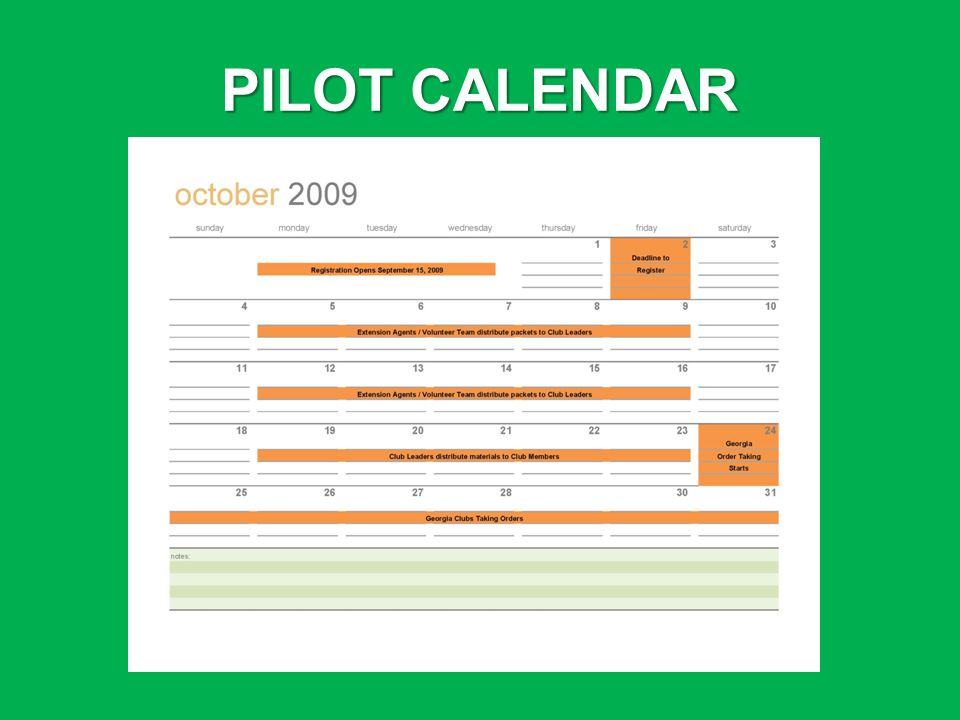 PILOT CALENDAR
