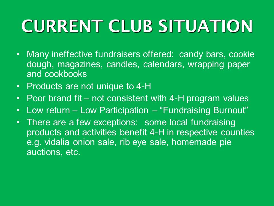 CURRENT CLUB SITUATION Many ineffective fundraisers offered: candy bars, cookie dough, magazines, candles, calendars, wrapping paper and cookbooks Pro