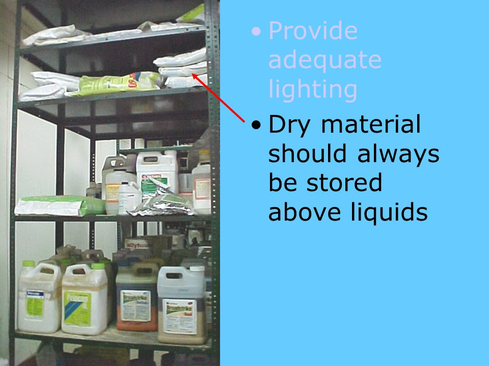 Dry material should always be stored above liquids