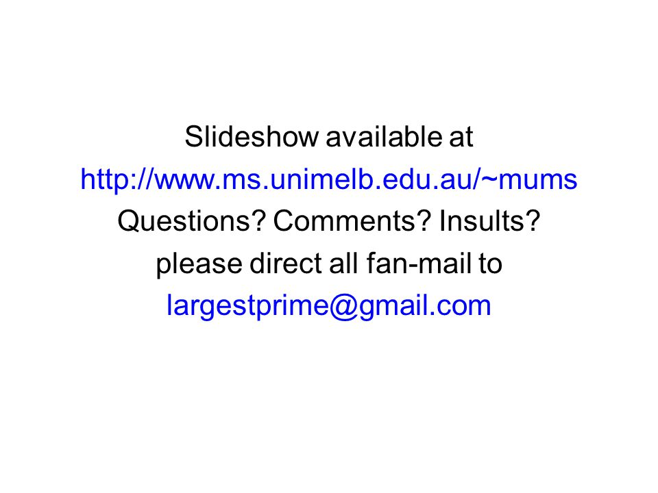 ...coming soon to a MUMS seminar near you