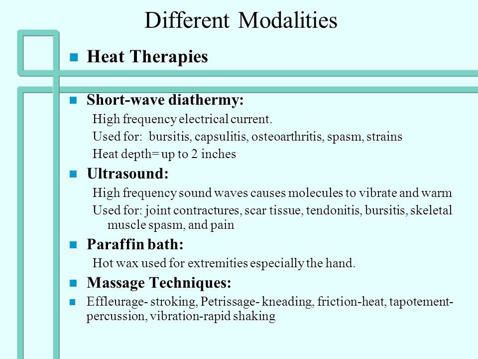 n Indications of cold n Acute trauma n Anti-inflammatory n Decrease pain n Decrease spasm n Post exercise n Prior to therapy n Contraindications n Bef