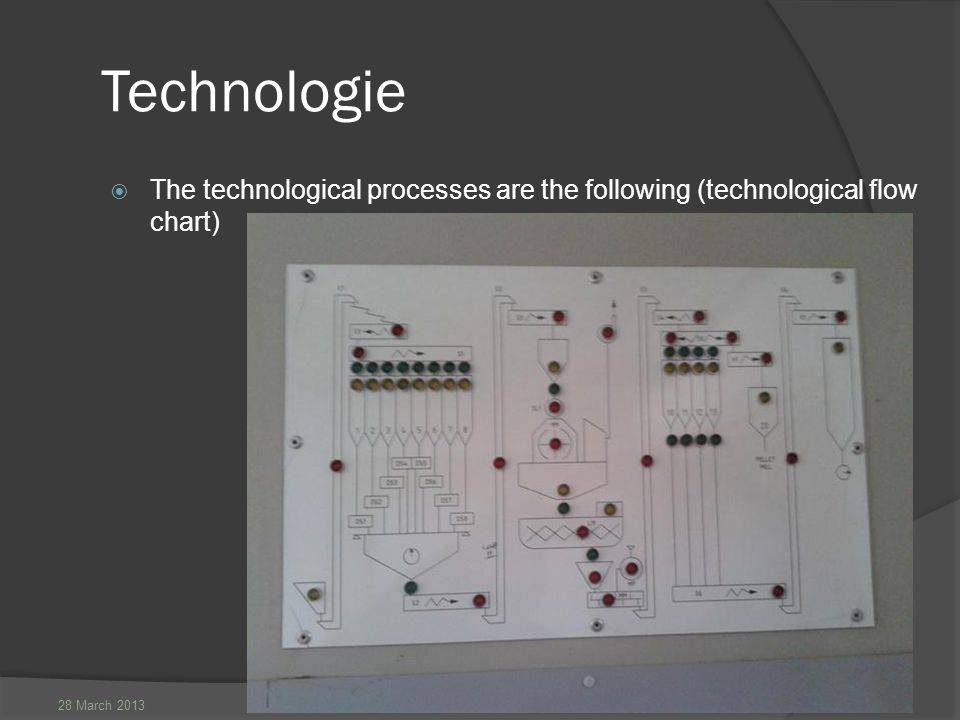 28 March 2013 Technologie  The technological processes are the following (technological flow chart)