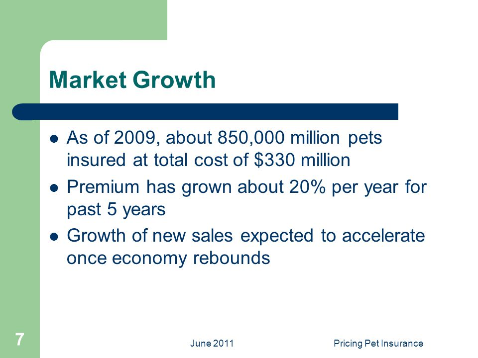 June 2011Pricing Pet Insurance 7 Market Growth As of 2009, about 850,000 million pets insured at total cost of $330 million Premium has grown about 20% per year for past 5 years Growth of new sales expected to accelerate once economy rebounds