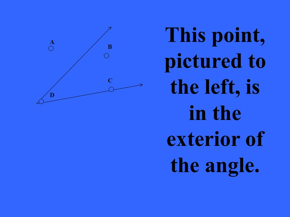 A B C D This point, pictured to the left, is in the exterior of the angle.