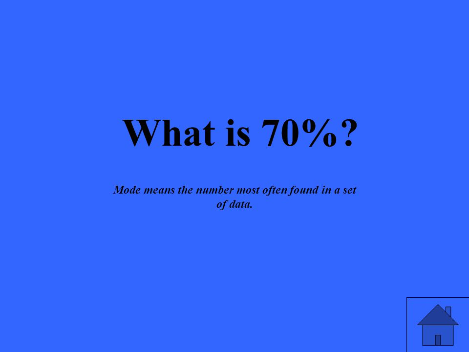 What is 70% Mode means the number most often found in a set of data.