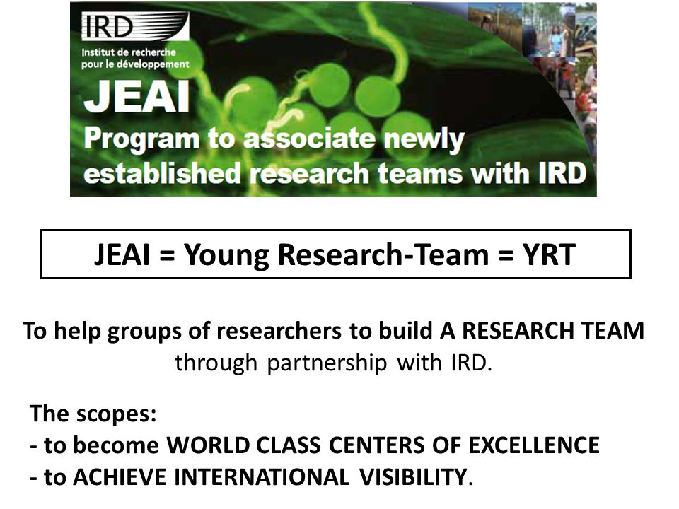JEAI = Young Research-Team = YRT To help groups of researchers to build A RESEARCH TEAM through partnership with IRD.