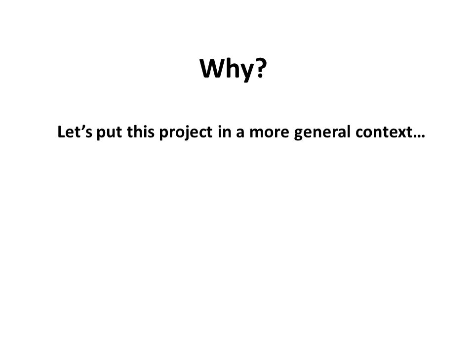 Why Let's put this project in a more general context…