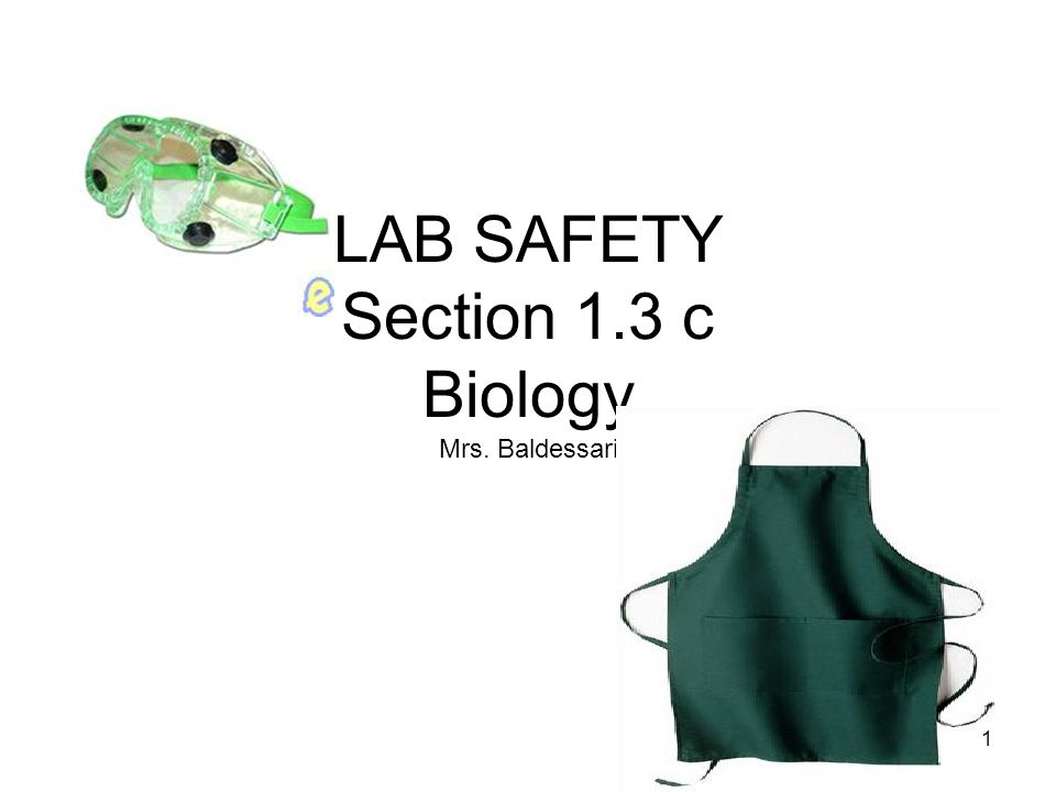 LAB SAFETY Section 1.3 c Biology Mrs. Baldessari 1