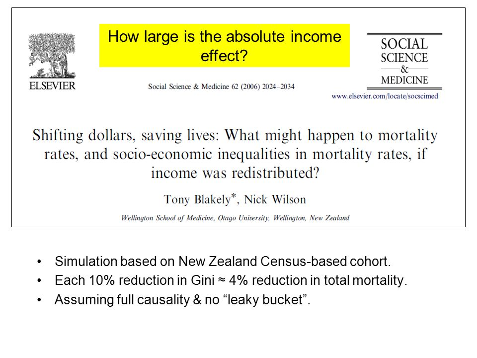 """Simulation based on New Zealand Census-based cohort. Each 10% reduction in Gini ≈ 4% reduction in total mortality. Assuming full causality & no """"leaky"""