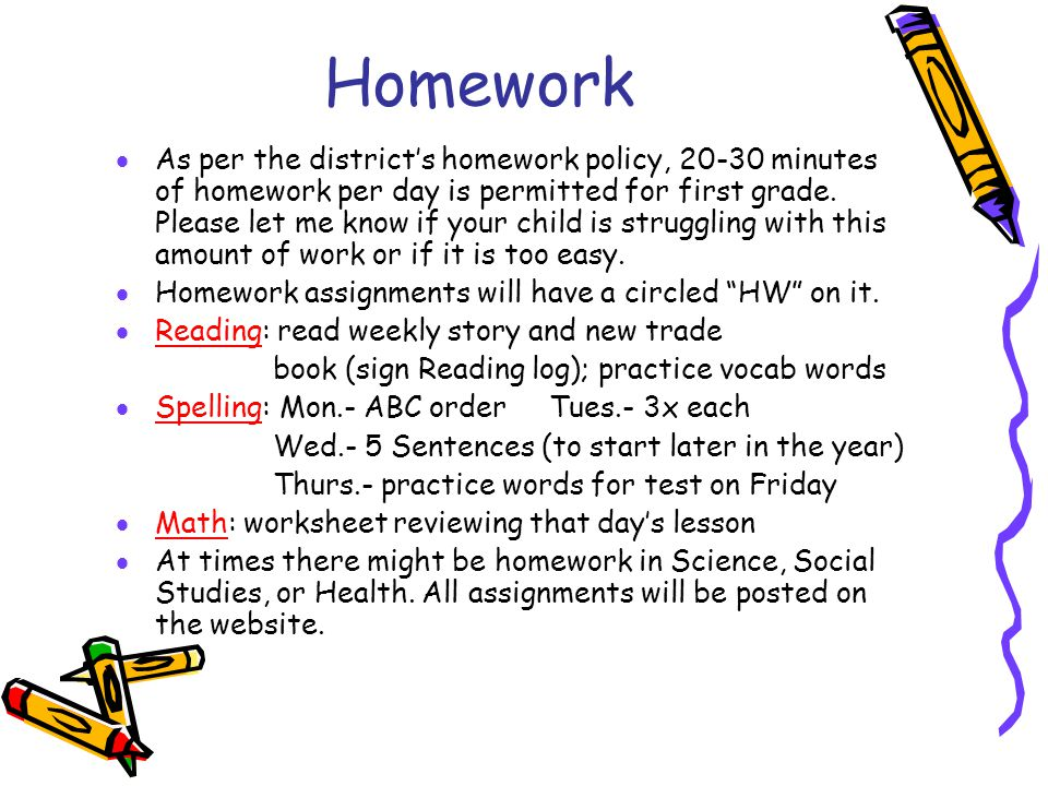 Homework  As per the district's homework policy, 20-30 minutes of homework per day is permitted for first grade. Please let me know if your child is
