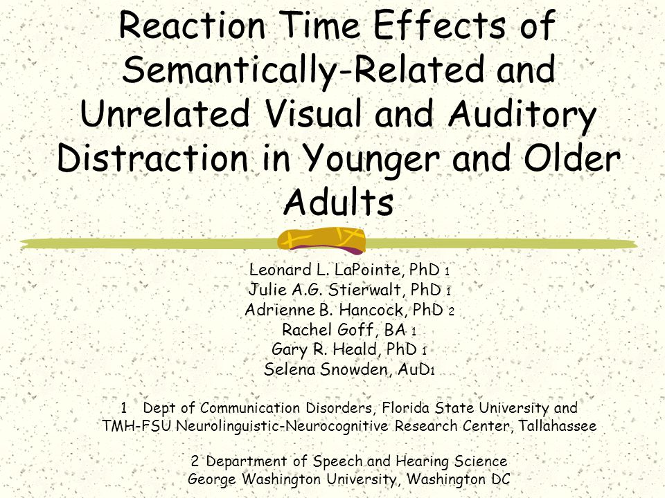 Reaction Time Effects of Semantically-Related and Unrelated Visual and Auditory Distraction in Younger and Older Adults Leonard L. LaPointe, PhD 1 Jul