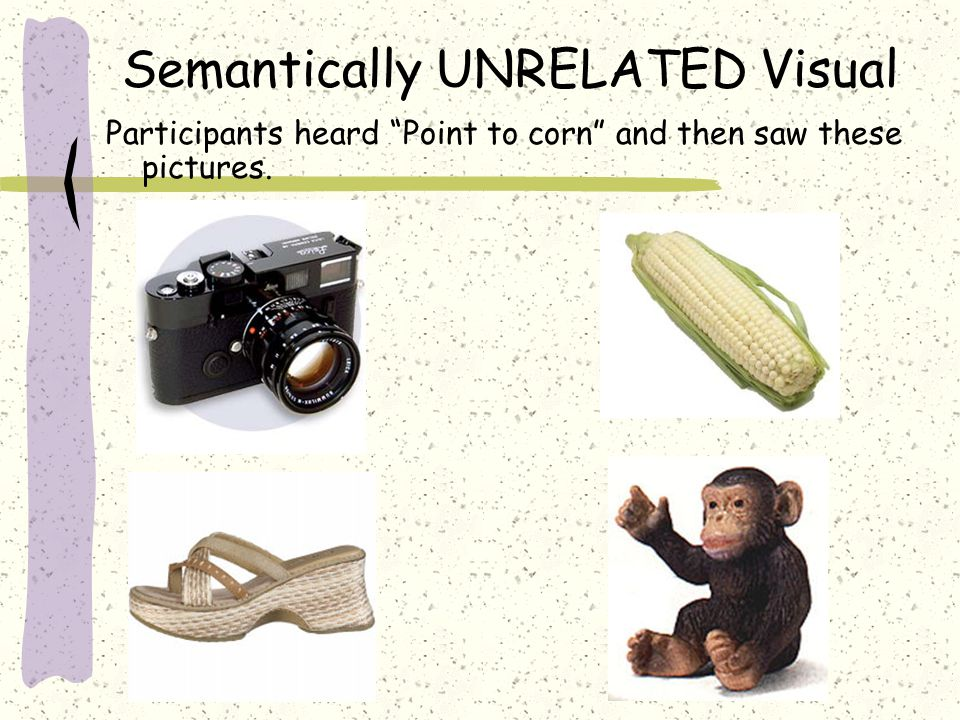 "Semantically UNRELATED Visual Participants heard ""Point to corn"" and then saw these pictures."