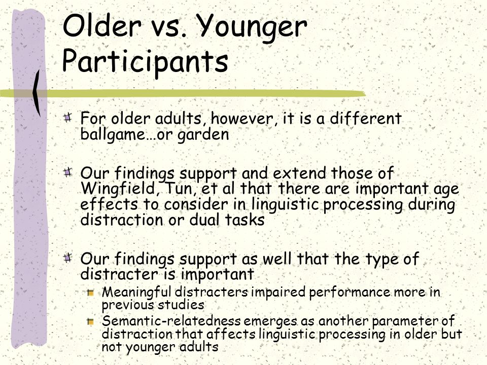 Older vs. Younger Participants For older adults, however, it is a different ballgame…or garden Our findings support and extend those of Wingfield, Tun