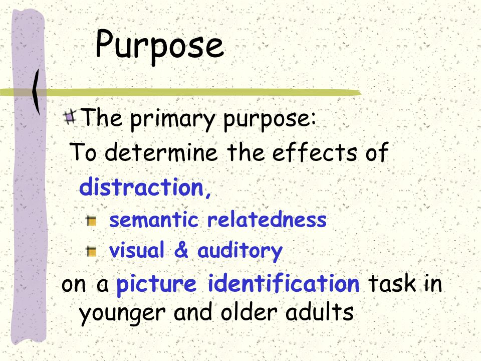 Purpose The primary purpose: To determine the effects of distraction, semantic relatedness visual & auditory on a picture identification task in young