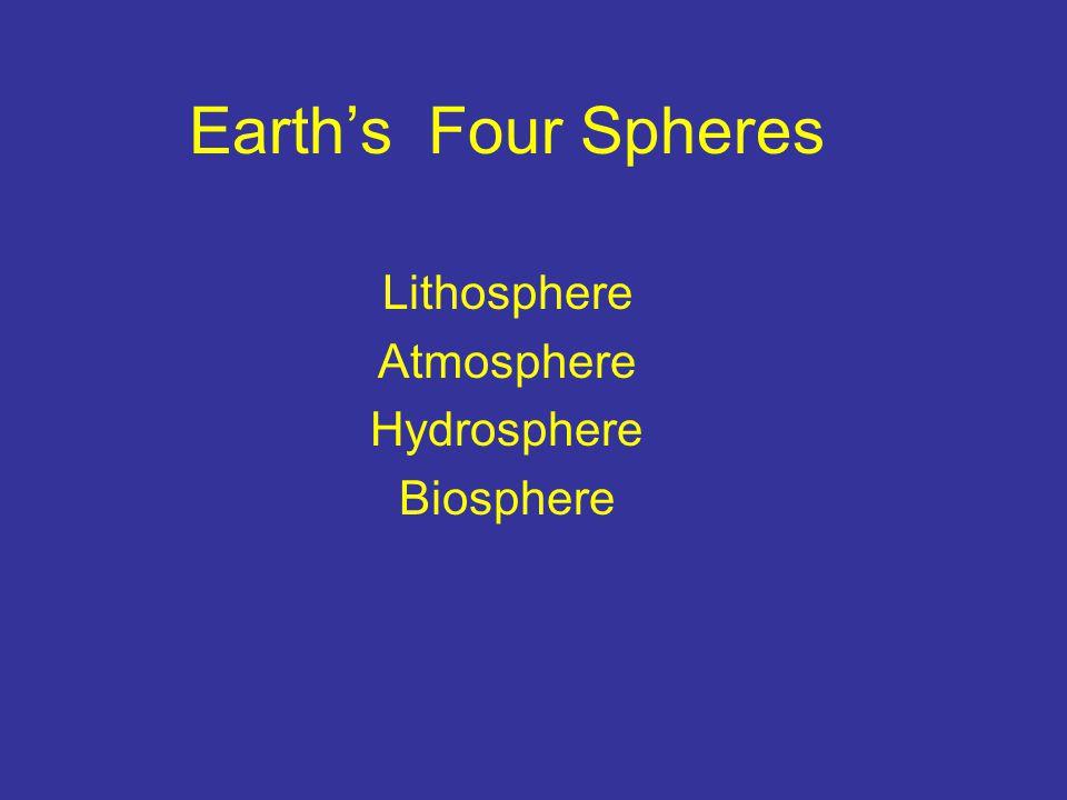 Earth's Four Spheres Lithosphere Atmosphere Hydrosphere Biosphere