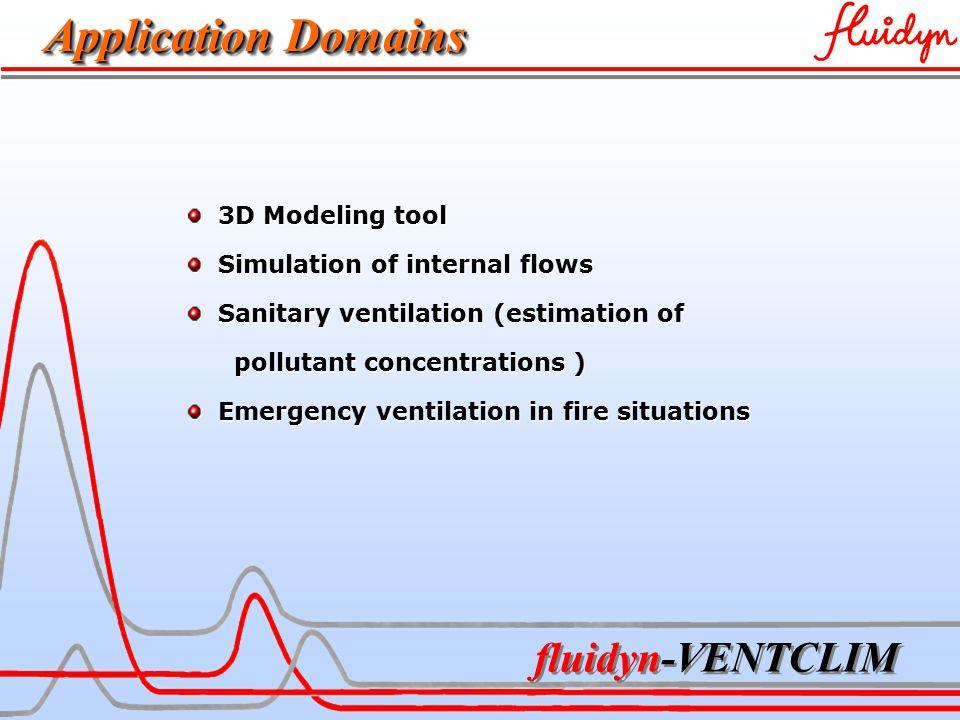 Application Domains 3D Modeling tool 3D Modeling tool Simulation of internal flows Simulation of internal flows Sanitary ventilation (estimation of Sanitary ventilation (estimation of pollutant concentrations ) pollutant concentrations ) Emergency ventilation in fire situations Emergency ventilation in fire situations
