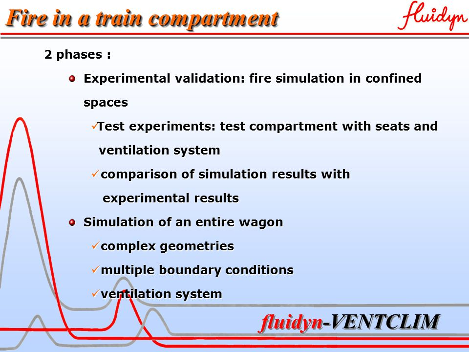 fluidyn-VENTCLIM 2 phases : Experimental validation: fire simulation in confined Experimental validation: fire simulation in confined spaces spaces Test experiments: test compartment with seats and Test experiments: test compartment with seats and ventilation system ventilation system comparison of simulation results with comparison of simulation results with experimental results experimental results Simulation of an entire wagon Simulation of an entire wagon complex geometries complex geometries multiple boundary conditions multiple boundary conditions ventilation system ventilation system Fire in a train compartment
