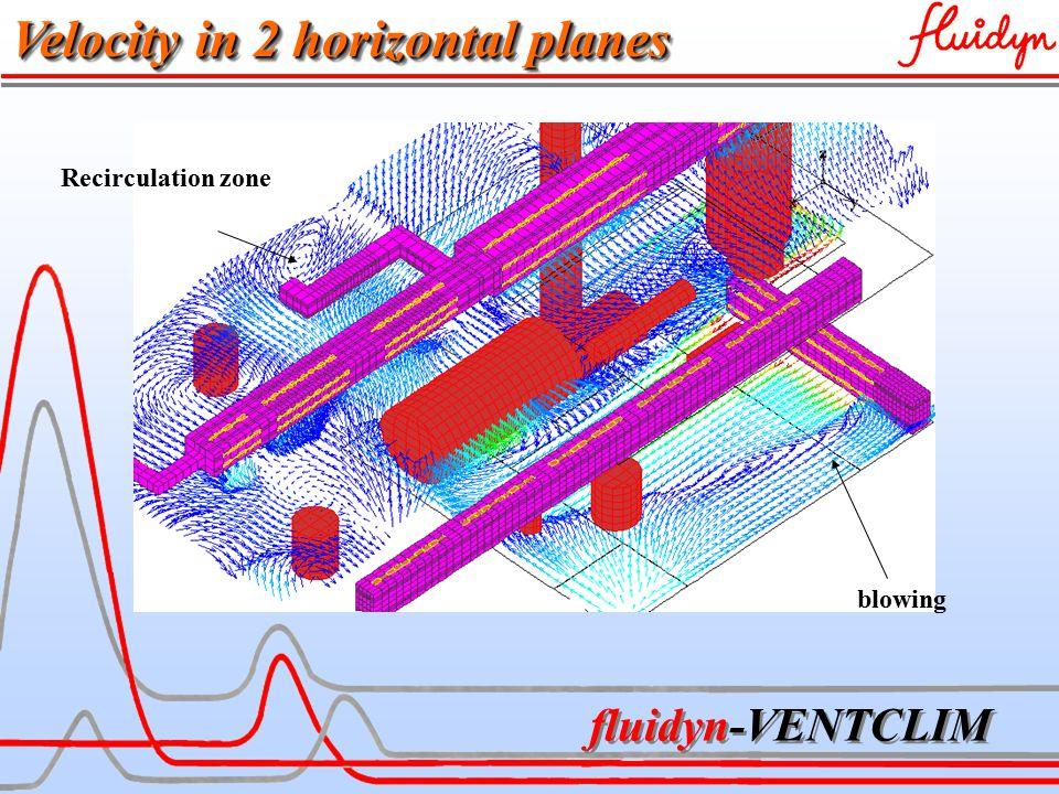 fluidyn-VENTCLIM blowing Velocity in 2 horizontal planes Recirculation zone