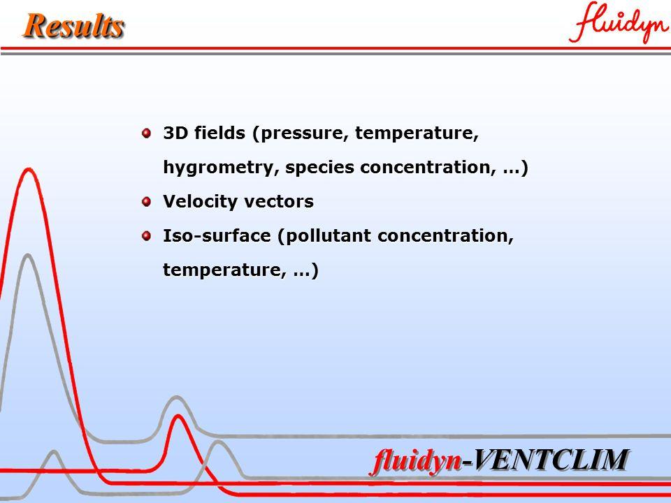 fluidyn-VENTCLIM ResultsResults 3D fields (pressure, temperature, 3D fields (pressure, temperature, hygrometry, species concentration, …) hygrometry, species concentration, …) Velocity vectors Velocity vectors Iso-surface (pollutant concentration, Iso-surface (pollutant concentration, temperature, …) temperature, …)