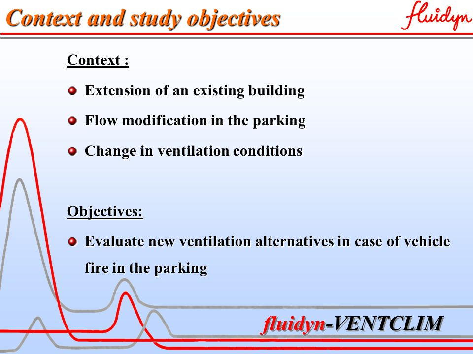 fluidyn-VENTCLIM Context and study objectives Context : Extension of an existing building Flow modification in the parking Change in ventilation conditions Objectives: Evaluate new ventilation alternatives in case of vehicle fire in the parking