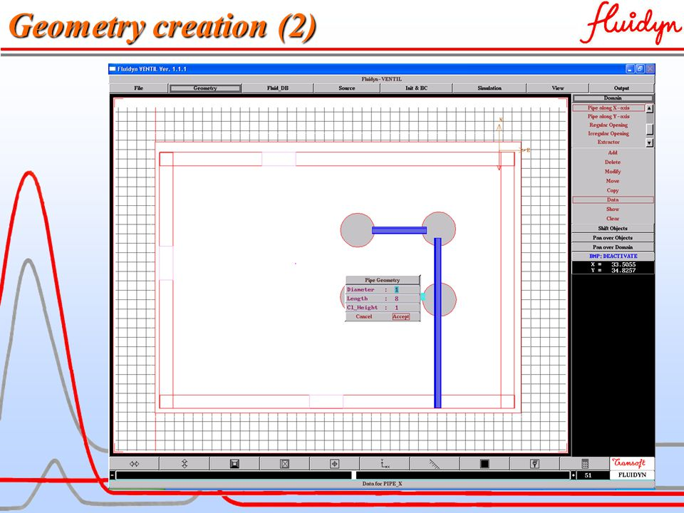 fluidyn-VENTCLIM Geometry Features Sub – options for tracing and modifying the Geometry Features Sub – options for tunnel/ducts GUI for Geometry Definition