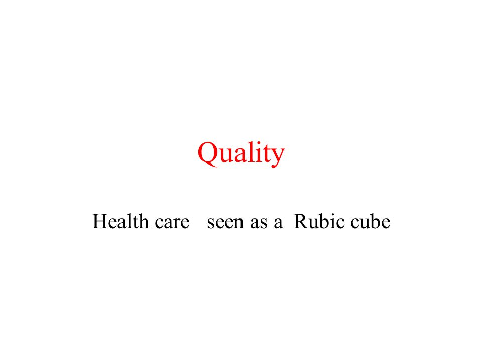 Quality Health care seen as a Rubic cube